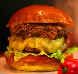 Burger in Pulled Pork in Brioche Bun